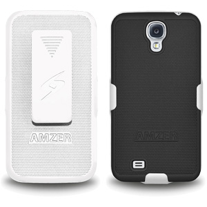 Premium Rubberized Shell Holster Combo Slim Shell Case + Swivel Belt Clip Holster for Samsung Galaxy S4, Samsung GALAXY S4 R970C I9500 L720 I545 - White/ Black