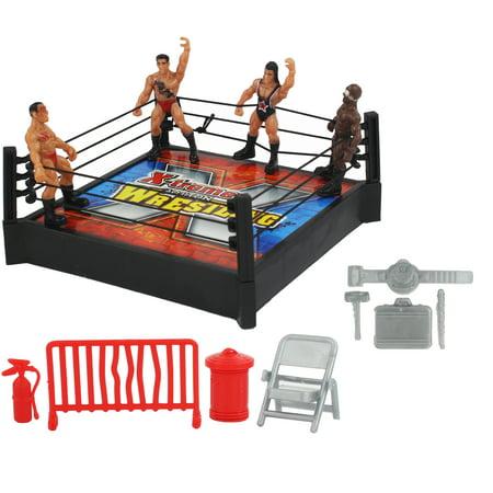 Mini Wrestling Ring Toy Playset w/ Figures, Arena & Accessories, Fun Miniature Wrestler