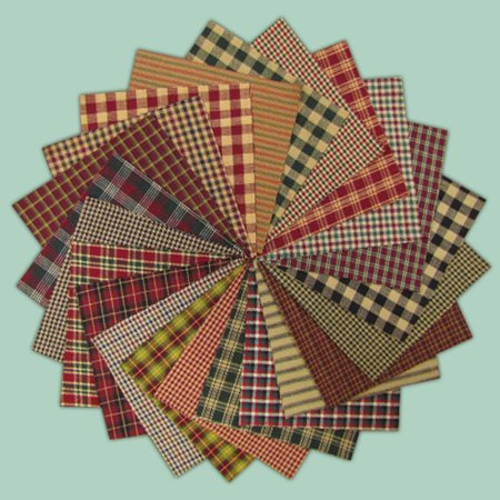 40 Rustic Christmas Homespun 5 Inch Quilt Squares By Jubilee Creative Studio
