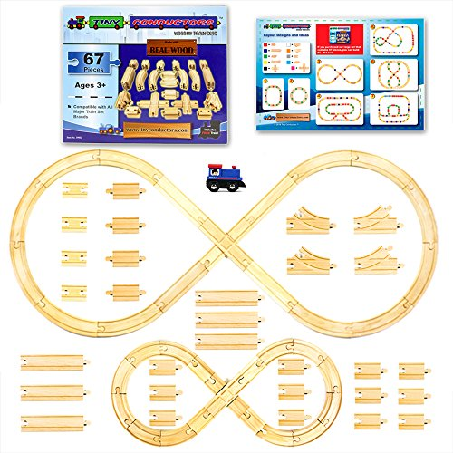 [67 Pieces] Wooden Train Track Set by Tiny Conductors - 100% Real Wood Railway Expansion Pack w/ Tank Engine; Fits Thomas, Brio, Chuggington, Melissa & Doug, and Imaginarium Kids Toy Railroad Sets
