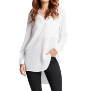 Women's V-neck Long Sleeve Chiffon Long Shirt Blouses Sexy Mini Dress