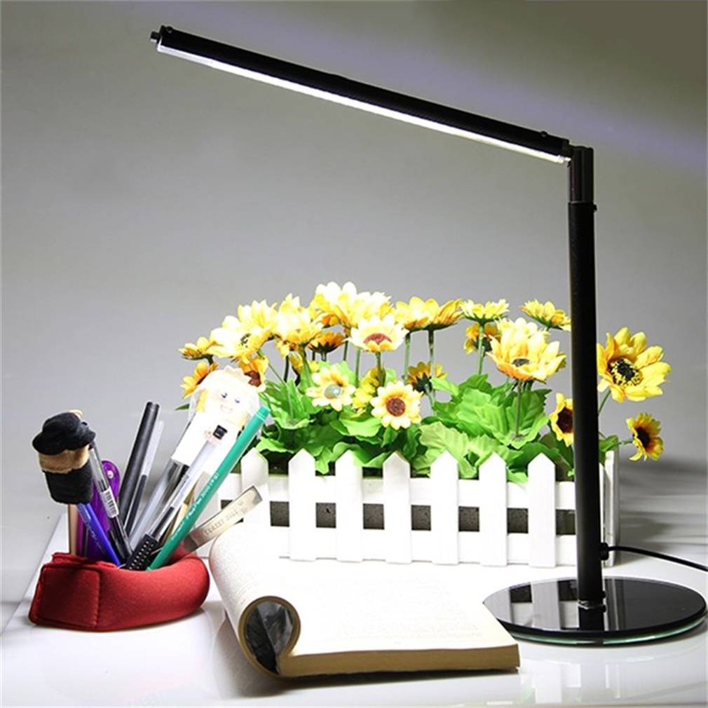Black Rotatable SMD Bright LED Table Desk Lamp Study Reading USB Adjustable Light by