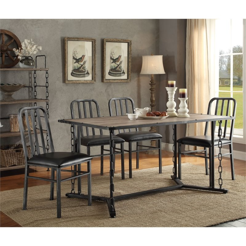 ACME Furniture Jodie 5 Piece Dining Set in Rustic Oak and...