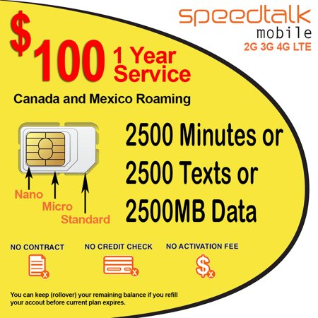 1 Year Prepaid GSM SIM Card Rollover 2500 Minutes Talk Text Data No Contract with Canada & Mexico (Best Data Sim Canada)