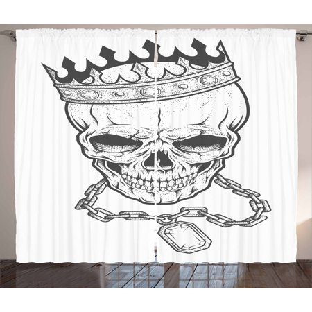 King Curtains 2 Panels Set, Sketchy Skull with Crown Hip Hop Street Style Necklace Chain Gem Image Print, Window Drapes for Living Room Bedroom, 108W X 63L Inches, Black and - Gemstone Crown Necklace