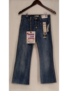b3f093284c6 Product Image Indigo Rein Junior Size Jeans 1 Button Fly Crop Slim Leg w   Topstitch Blue New
