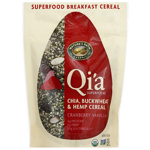 Nature's Path Organic Qi'a Cranberry Vanilla Chia, Buckwheat & Hemp Cereal, 7.9 oz, (Pack of 10)