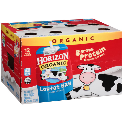 Horizon Organic Lowfat Milk, 8 fl oz, 12 Ct