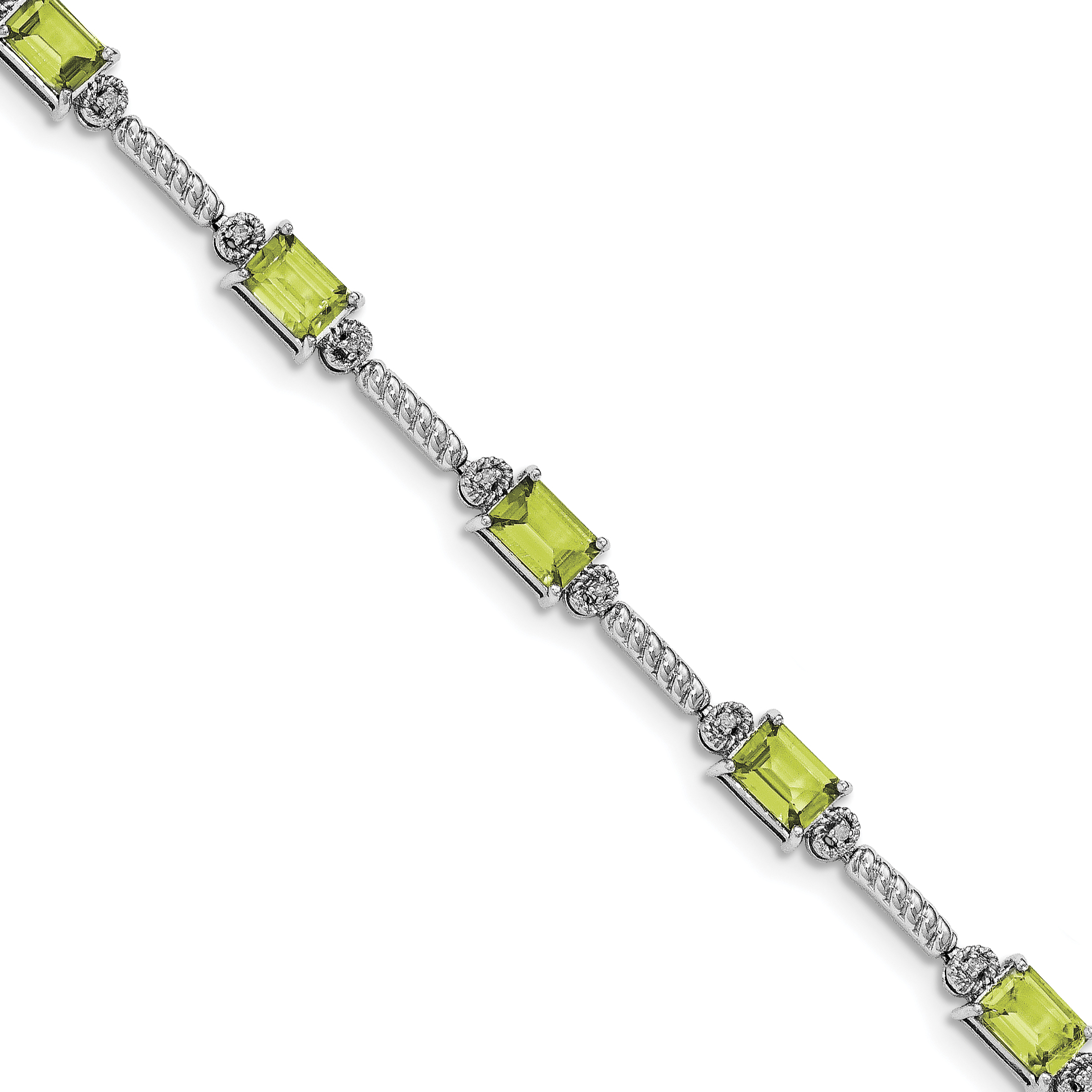 Sterling Silver Rhodium-plated Peridot & Diamond Bracelet QX947PE by Core Silver