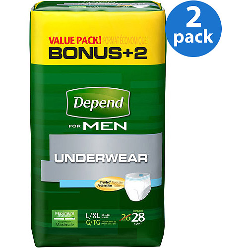 Depend for Men Underwear Maximum Absorbency, Large/Extra Large, 28 Count, (Pack of 2)