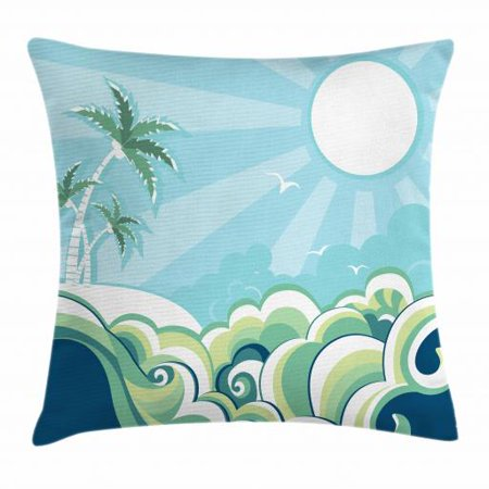 Palm Tree Pattern - Tropical Throw Pillow Cushion Cover, Wavy Sea Pattern with Palm Trees Seascape Illustration Exotic Getaway Illustration, Decorative Square Accent Pillow Case, 20 X 20 Inches, Multicolor, by Ambesonne