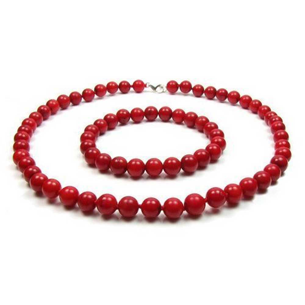 925 Silver Dyed Red Coral Bead Necklace and Bracelet Set 9mm by Bling Jewelry
