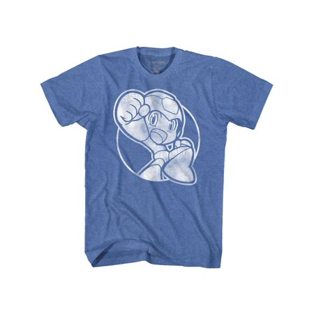 Mega Man Rockman Capcom Video Game Series Fist Pump Royal Hthr Adult TShirt Tee (Pump Video)