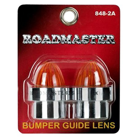 Roadmaster 848-2A Chrome Amber Threaded ABS Bumper Guide Lens, 2 Pack (Bumper Guide)