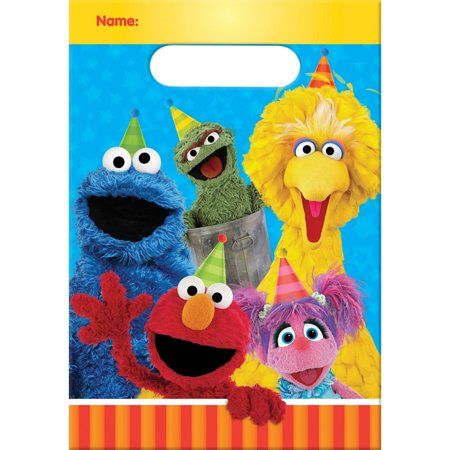 Sesame Street Elmo Big Bird and Friends Birthday Party Favors Loot Bags 16 Count NEW Set](Sesame Street Birthday Party Favors)