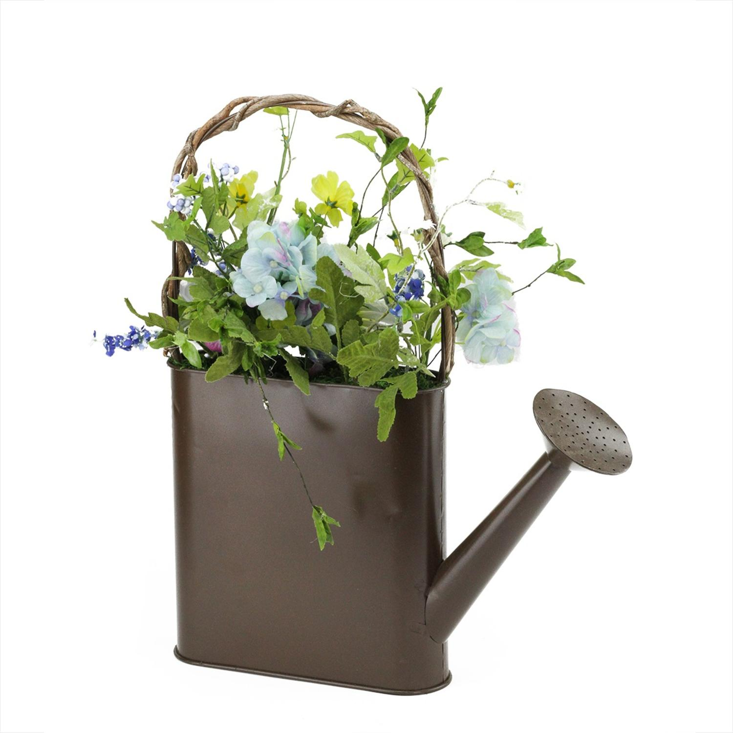 """17"""" Lakeside Blue & White Silk Mixed Flower Artificial Spring Floral Arrangement Watering Can"""