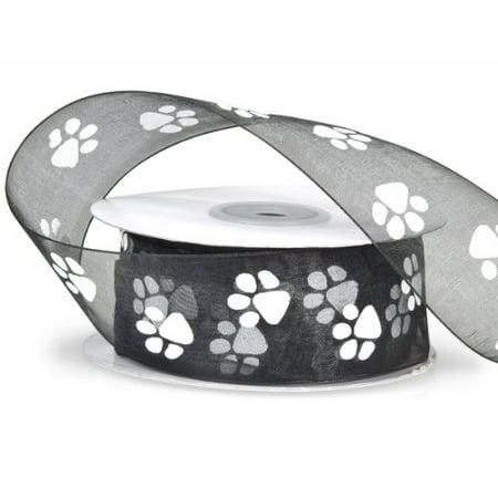 Sheer Black Organza Ribbon with White Paw Prints 1 1/2