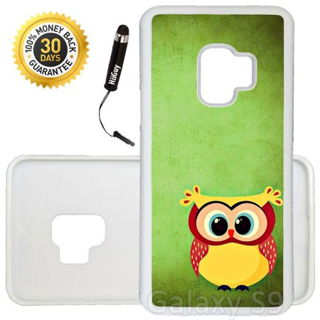 Custom Galaxy S9 Case (Cute Chubby Owl) Edge-to-Edge Rubber White Cover Ultra Slim | Lightweight | Includes Stylus Pen by Innosub - Cute Chubby Teen