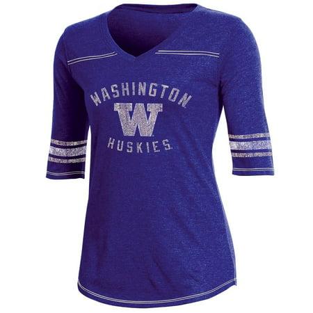 Women's Russell Athletic Purple Washington Huskies Fan Half-Sleeve V-Neck T-Shirt Washington Huskies Fan