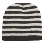 Girls Ivory Brown Striped Knitted Beanie Stocking Hat
