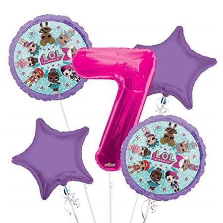 LOL Suprise Balloon Bouquet 7th Birthday 5 pcs - Party Supplies](Party City Balloon Bouquet)
