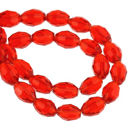 1 Strand Red Faceted Oval Glass Crystal Loose Beads