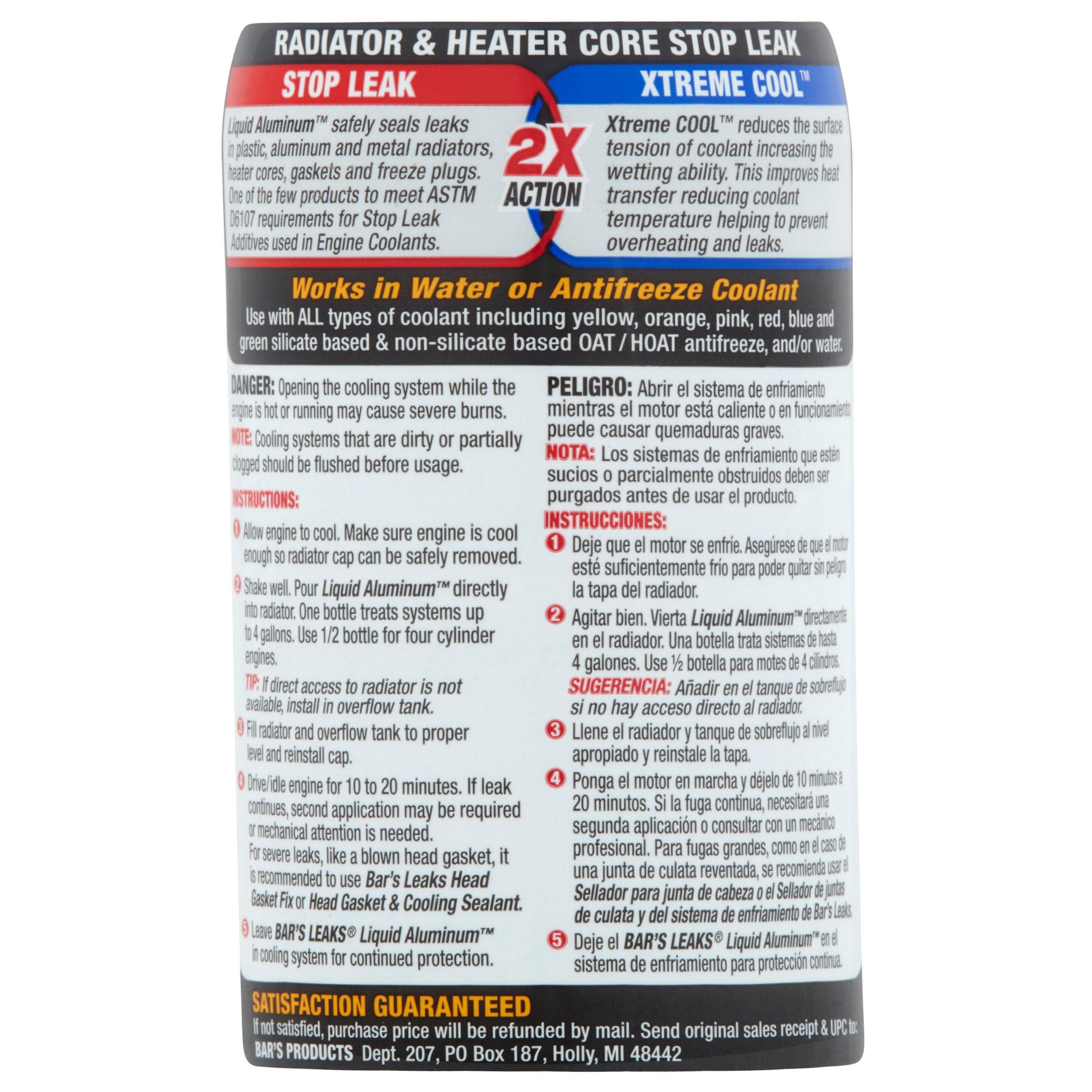 Bar's Leaks Liquid Aluminum Radiator & Heater Core Stop Leak