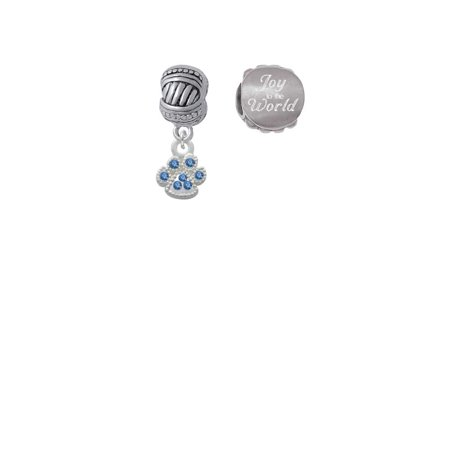 Silvertone Mini Paw with Blue Crystals Joy to the World Charm Beads (Set of 2) Crystal Blue Mini Set