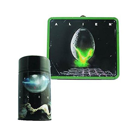 Alien Lunch Box - Alien Egg Distressed Tin Lunch Box with Thermos