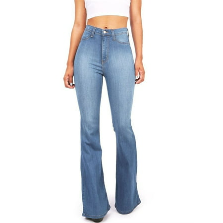 S-5XL Plus Size Wide Leg Blue Denim Pants Women Casual Jeans ()