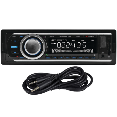 OPEN BOX XO Vision XD107BT + AUX CABLE Wireless Bluetooth Car Stereo Receiver with 20 watts x 4, USB/AUX/SD Card