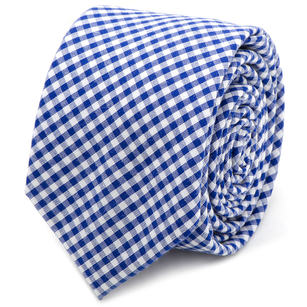 Men's Cufflinks Inc Gingham Cotton Skinny Tie