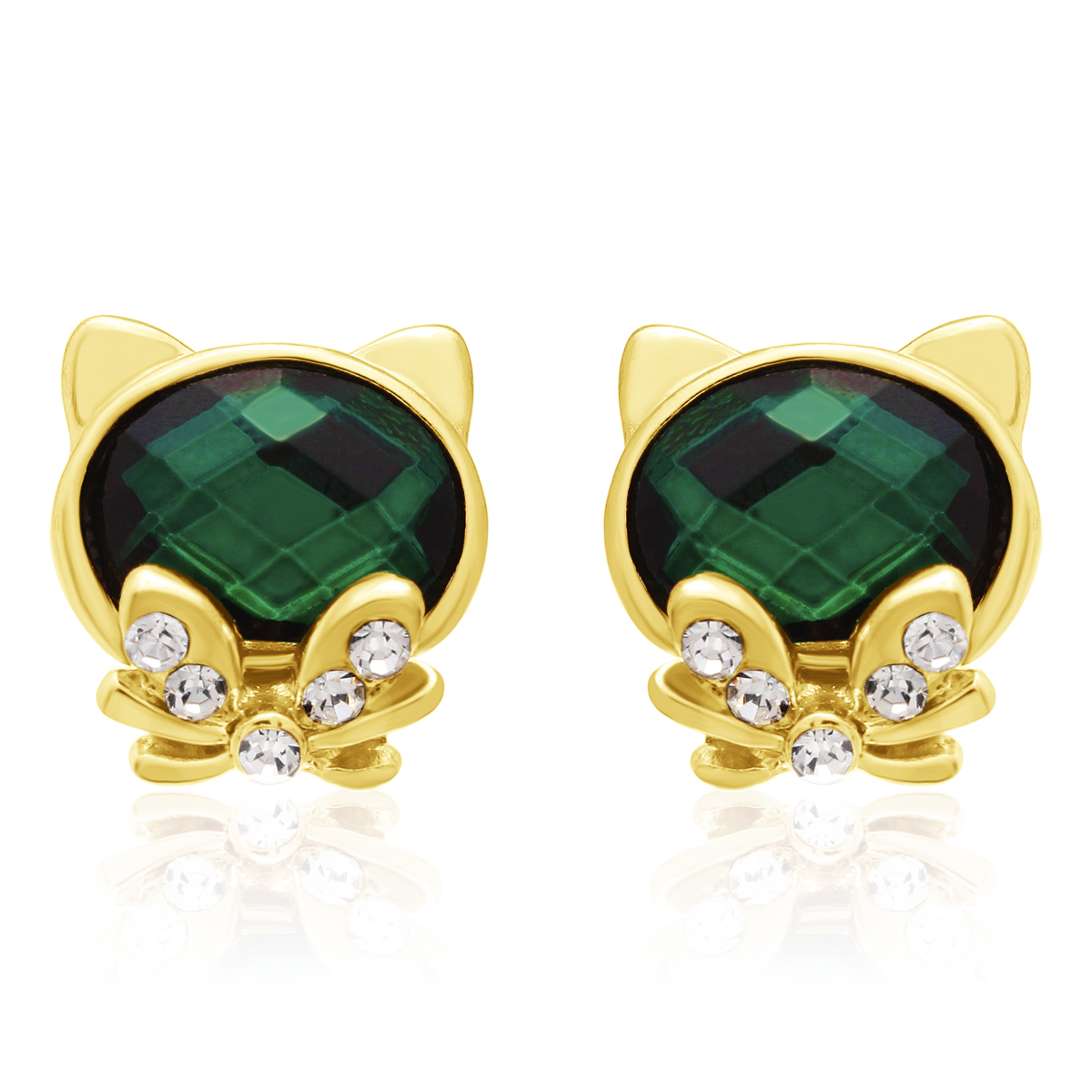 Swarovski Elements Emerald Cat Stud Earrings, Gold Overlay, Pushbacks