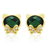Swarovski Elements Emerald Cat Stud Earrings Gold Overlay Pushbacks