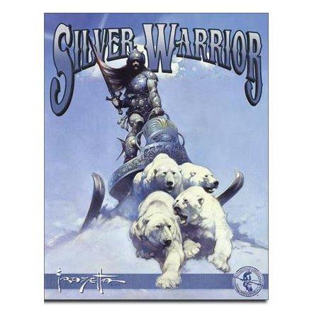 desperate enterprises frazetta - silver warrior tin sign, 12.5