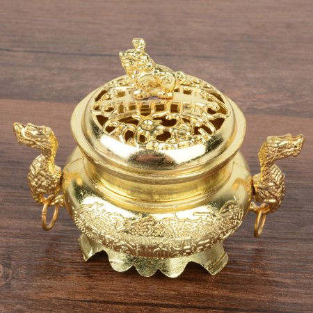 China Alloy Incense Burner Double Dragon Hollow Cover Censer Cone Holder Gift