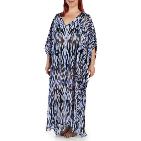 8ed1411c9b20b Catalina - Women s Plus-Size Flowy Bold Ikat Maxi Caftan Swim Cover-Up -  Walmart.com