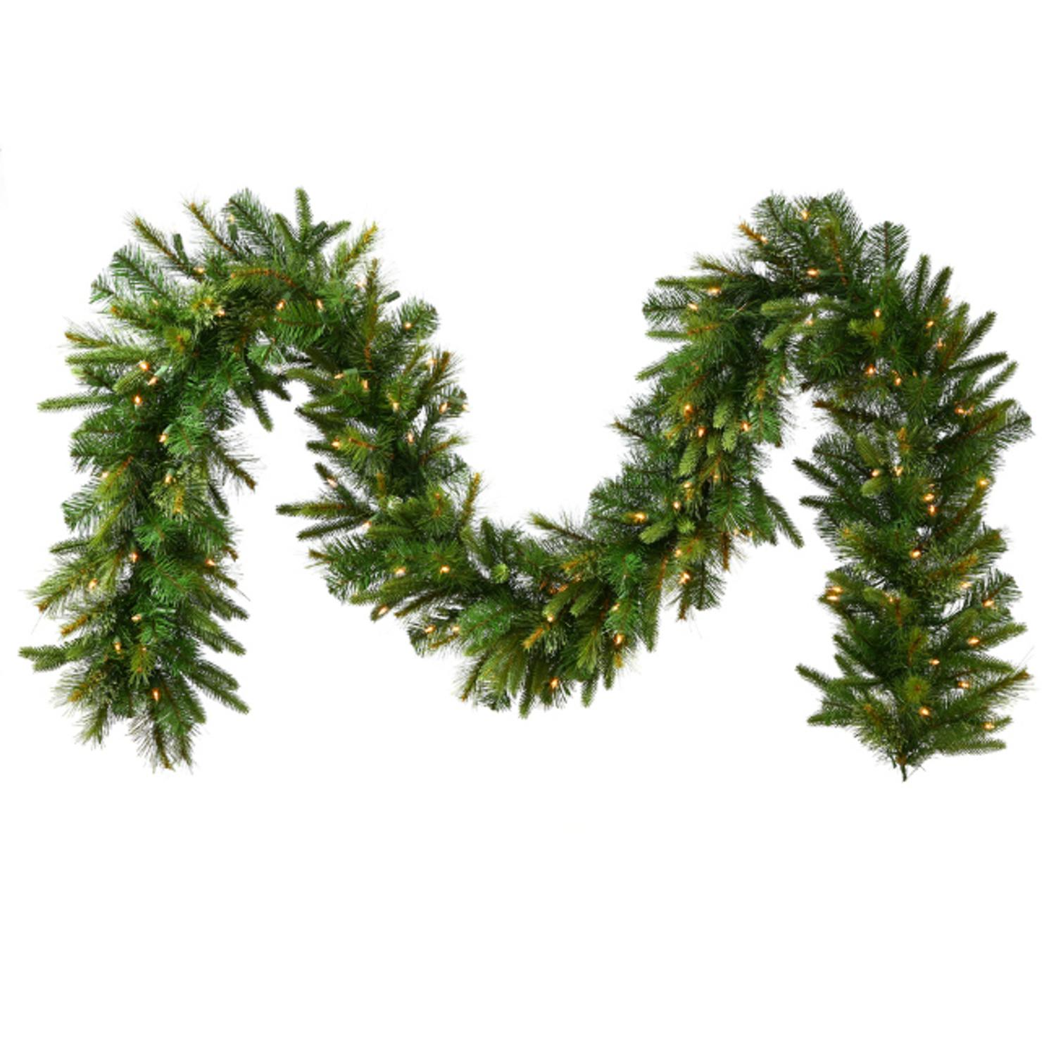 """9' x 14"""" Pre-Lit Mixed Pine Cashmere Artificial Christmas Garland - Clear Lights"""