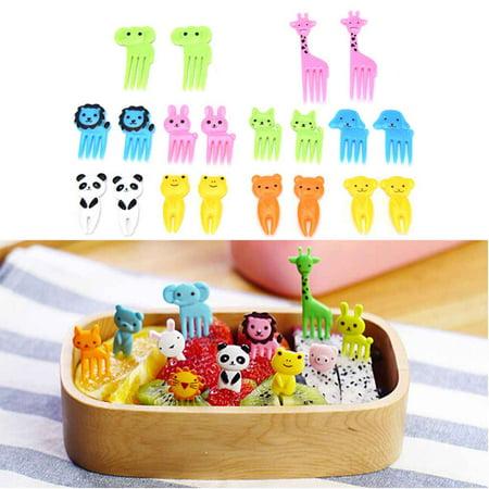 10pcs Animal Fruit Fork Mini Cartoon Children Snack Cake Dessert Food Fruit Pick Toothpick Lunches Decor Random Color