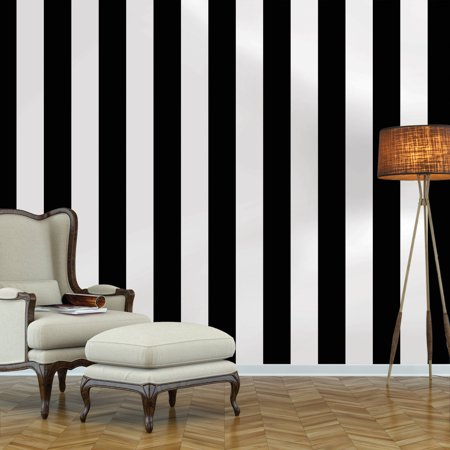 Pattern Stripe Wallpaper (Repeel Removable Peel and Stick Wallpaper, Stripe, Black & White )