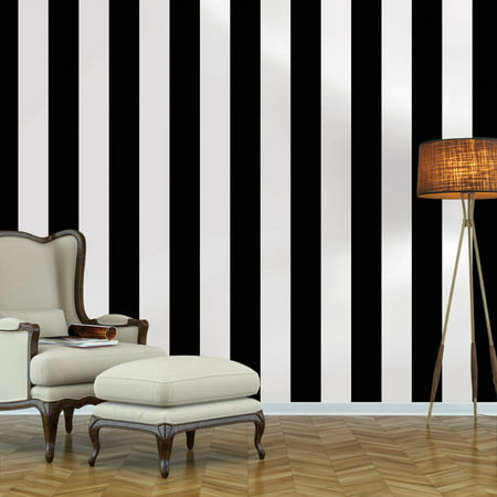 (Repeel Removable Wallpaper, Stripe, Black & White)