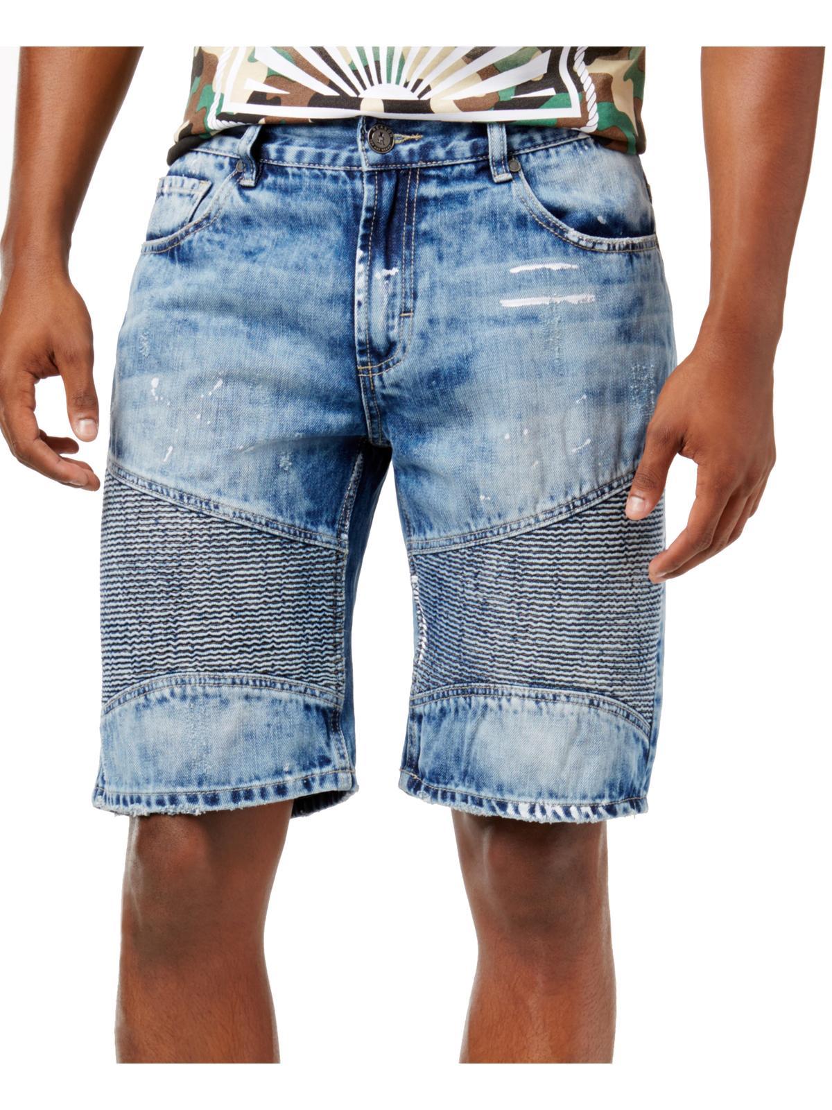 Reason Mens Moto Casual Denim Shorts