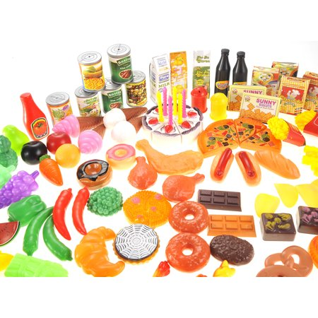 A huge set of play food,130 Piece Deluxe Assorted Play Set Variety of Foods Fruits Vegetables Beverages