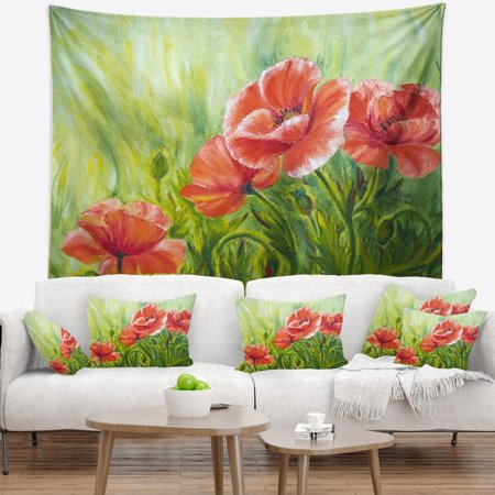 - DESIGN ART Designart 'Blooming Poppies with Green Leaves' Floral Wall Tapestry