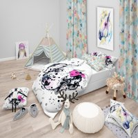 DESIGN ART Designart 'Funny Puppy with Pink Hair Band' Modern & Contemporary Bedding Set - Duvet Cover & Shams