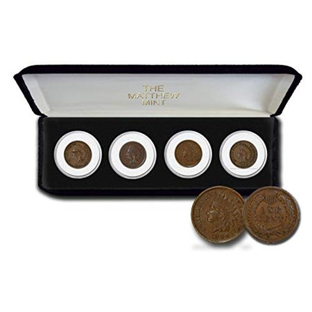 Four Indian Head Pennies Set