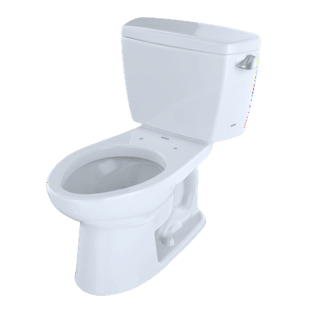 TOTO® Eco Drake® Two-Piece Elongated 1.28 GPF Toilet with Right-Hand Trip Lever and Bolt Down Tank Lid, Cotton White - - 01 Cotton Tank Lid