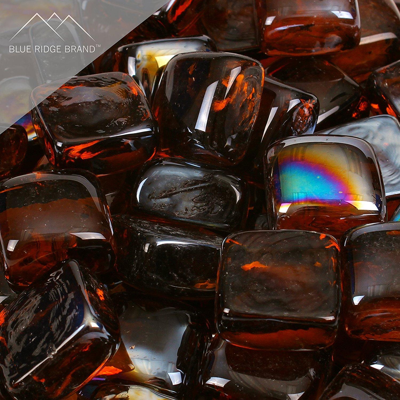 "Blue Ridge Brand™ Reflective Fire Glass Cubes - Professional Grade Fire Pit Glass - 1"" Reflective Fire Pit Glass Squares"