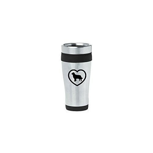 Black 16oz Insulated Stainless Steel Travel Mug Z130 Golden Retriever Heart,MIP