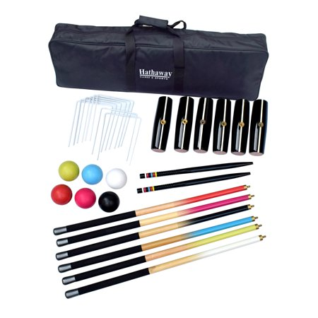 - Hathaway Deluxe Croquet Set w/6 Polymer Balls, 9 Wickets, 2 Goal Stakes, & a Nylon Carrying Case, 6-Player - Multi